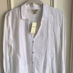 Lucky Brand White Cotton Button Up NWT Sz M
